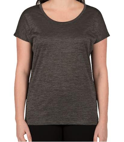 Sport-Tek Women's Electric Heather Performance Shirt - Grey-Black Electric
