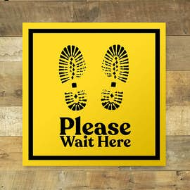 "Wait Here 12"" Square Floor Decal"