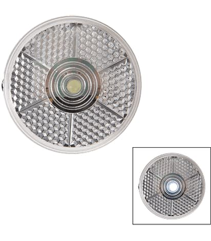 Round Blinking Light with Back Clip - Clear
