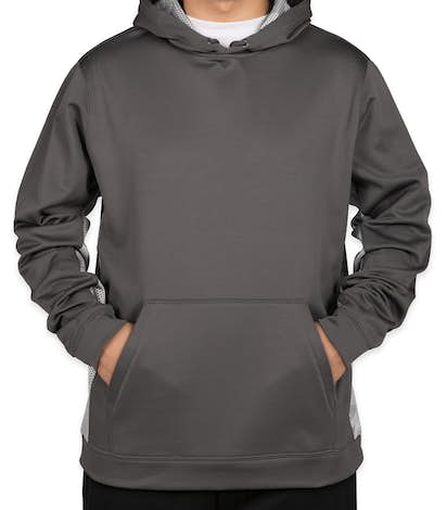 Sport-Tek CamoHex Colorblock Performance Pullover Hoodie - Dark Smoke Grey / White