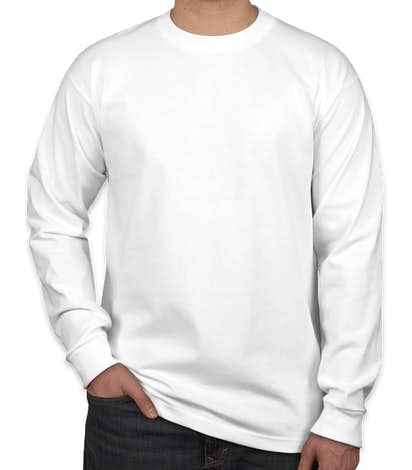 Bayside USA-Made 100% Cotton Long Sleeve T-shirt - White
