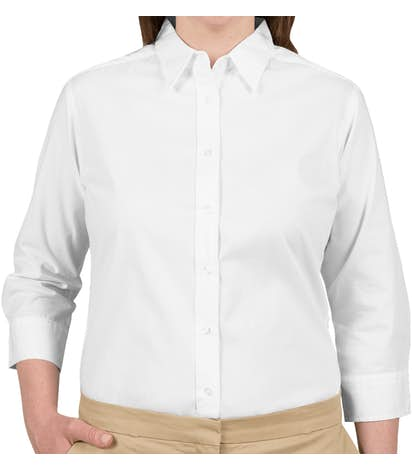 Port Authority Women's 3/4 Sleeve Easy Care Twill Shirt - White