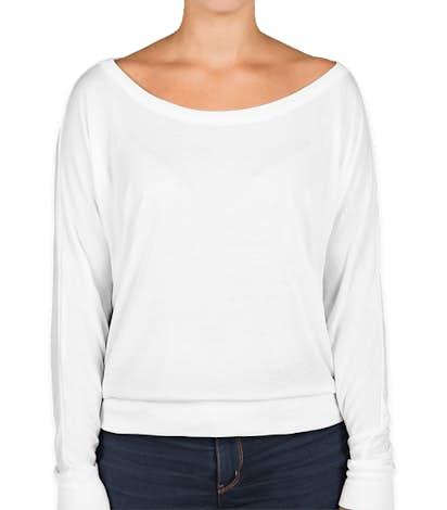Bella + Canvas Women's Flowy Long Sleeve Off Shoulder T-shirt - White