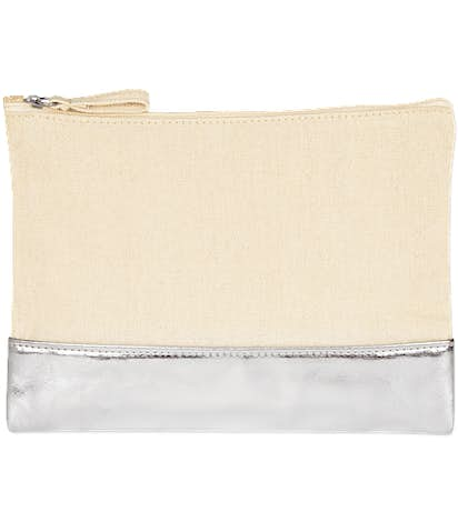 Cotton Cosmetic Bag with Metallic Accent - Natural / Silver