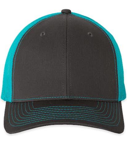 Richardson Snapback Trucker Hat - Charcoal / Neon Blue