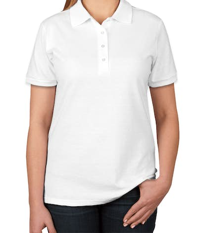 Jerzees Women's Spotshield 50/50 Jersey Polo - White
