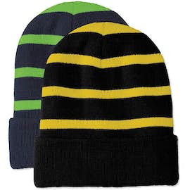 Sport-Tek Fleece Lined Striped Cuff Beanie