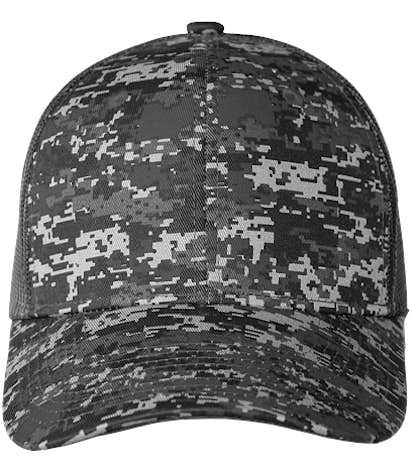 Port Authority Digital Camo Snapback Trucker Hat - Black Digi / Black