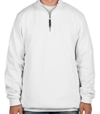 Charles River Pocket Quarter Zip Sweatshirt - Embroidered - White