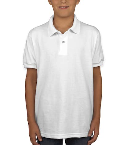 Hanes EcoSmart® Youth 50/50 Jersey Polo - White