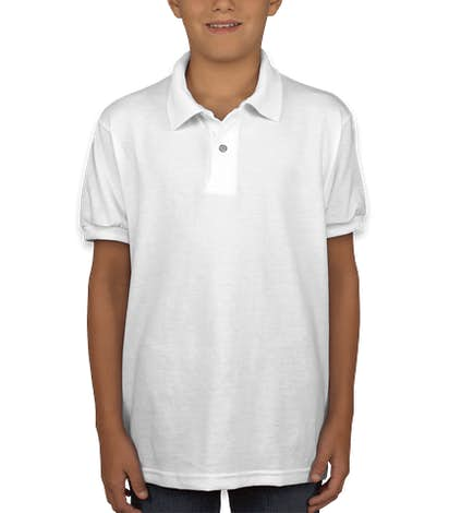 Hanes Youth EcoSmart 50/50 Jersey Polo - White