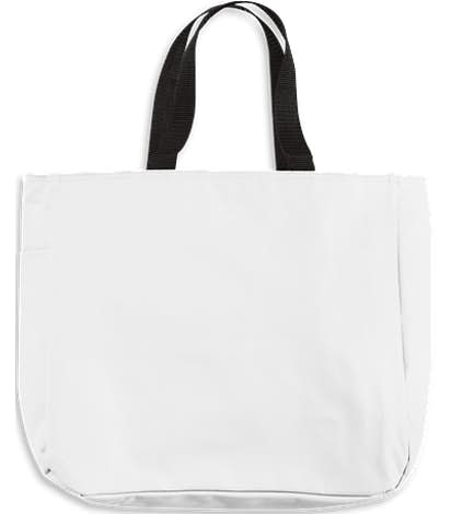 Port Authority Durable Side Pocket Poly Canvas Tote - White