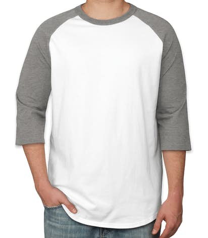 Sport-Tek Baseball Raglan - White / Heather Grey