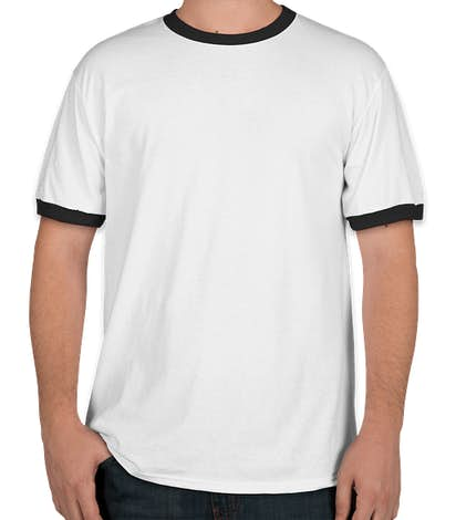 Port & Company Ringer T-shirt - White / Jet Black