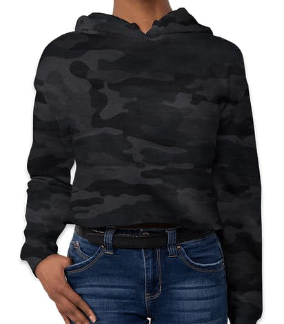 Independent Trading Women's Camo Cropped Hoodie - Black Camo