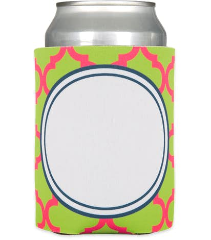 Moroccan Tile Foldable Can Cooler - Vibrant Lime / Hot Pink