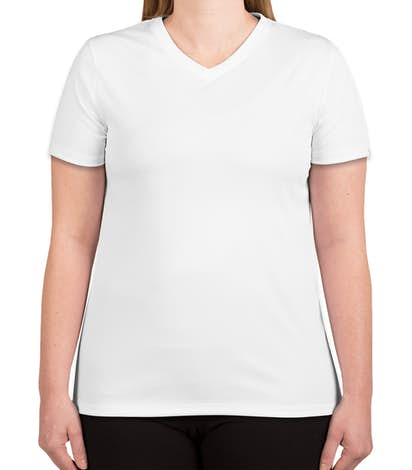 Hanes Women's Cool Dri V-Neck Performance Shirt - White