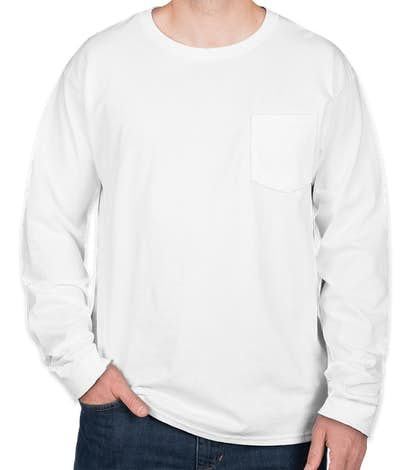 Hanes Authentic Long Sleeve Pocket T-shirt - White