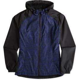 Sport-Tek Women's Heather Raglan Hooded Full Zip Jacket