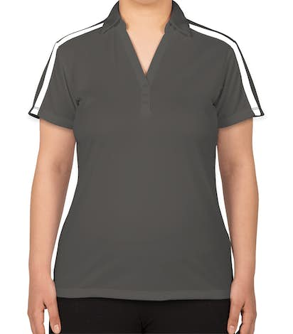 Port Authority Women's Silk Touch Colorblock Performance Polo - Steel Grey / White