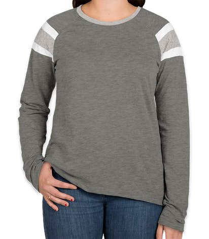 Augusta Women's Fanatic Long Sleeve T-shirt - Slate / Athletic Heather / White