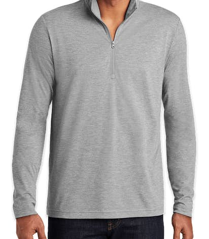 Sport-Tek Tri-Blend Quarter Zip Performance Shirt - Light Grey Heather