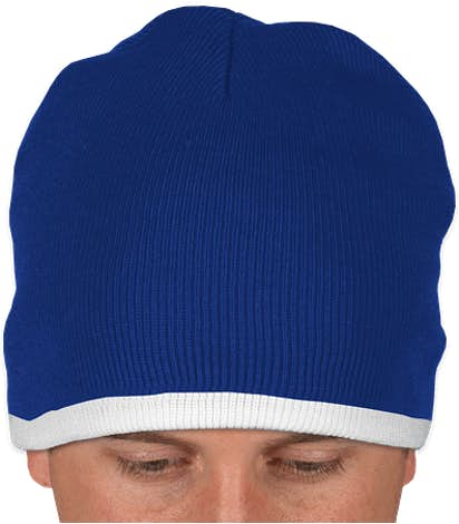 Sportsman Bottom Stripe Beanie - Royal / White
