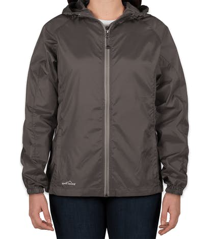 Eddie Bauer Women's Full Zip Hooded Packable Jacket - Grey Steel