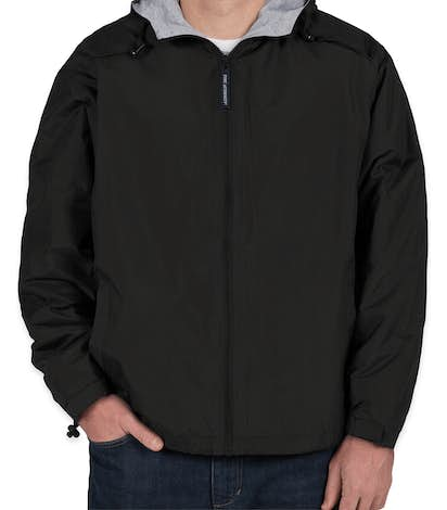 Port Authority Lined Hooded Team Jacket - Black / Light Oxford