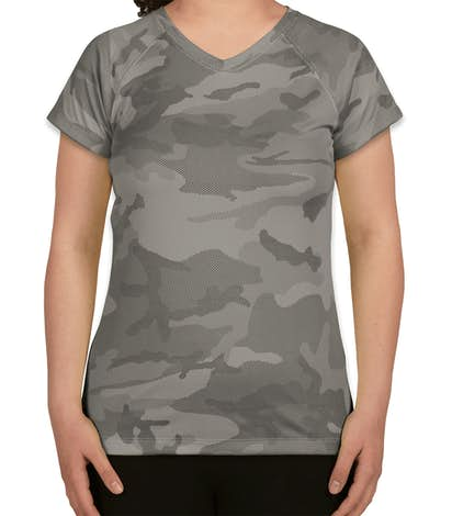 Champion Women's Camo V-Neck Performance Shirt - Stone Grey Camo