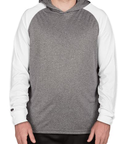 Holloway Ultra Lightweight Hooded Performance Shirt - Graphite Heather / White