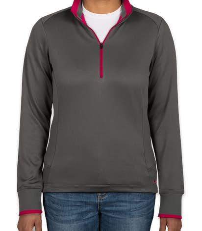 Nike Women's Dri-FIT Half Zip Performance Pullover - Dark Grey / Sport Fuchsia