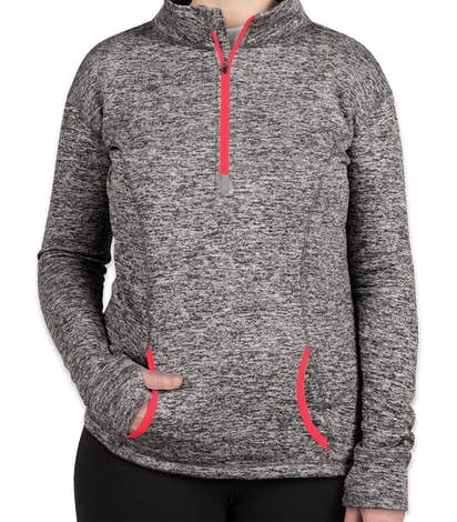 J. America Women's Cosmic Quarter Zip Performance Pullover - Charcoal Fleck / Fire Coral