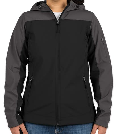 Port Authority Women's Contrast Hooded Soft Shell Jacket - Black / Battleship Grey