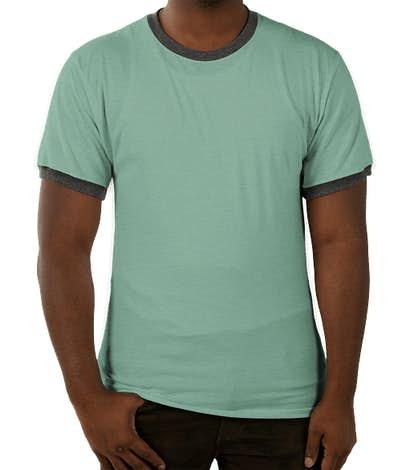 Champion Premium Fashion Ringer T-shirt - Bright Sage Heather / Charcoal Heather