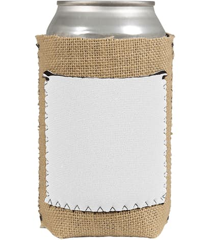 Burlap Can Cooler with Neoprene Pocket - White