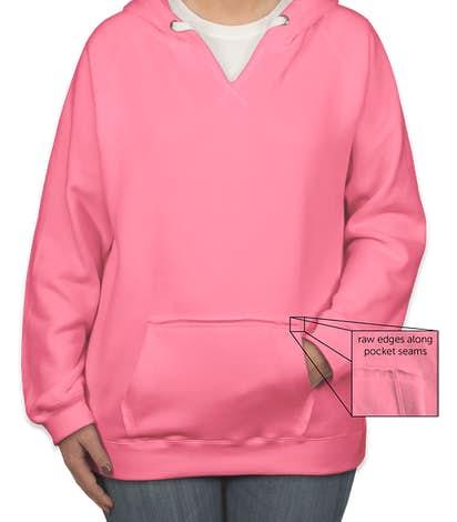 J. America Women's Neon V-Neck Pullover Hoodie - Neon Pink