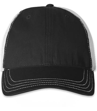 Richardson Garment Washed Trucker Hat - Black / White