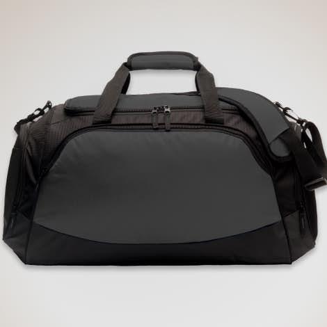 Large Active Duffel Bag - Screen Printed - Dark Charcoal / Black