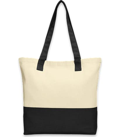 Port Authority Medium Colorblock Cotton Tote - Natural / Black