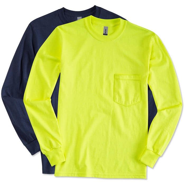 db6bb4151afee Custom Gildan Ultra Cotton Long Sleeve Pocket T-shirt - Design Long ...