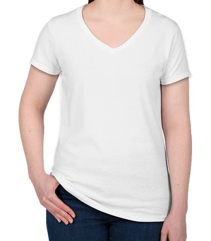 Gildan Women's 100% Cotton V-Neck T-shirt - White