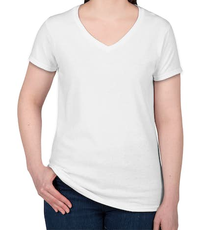 Canada - Gildan Women's 100% Cotton V-Neck T-shirt - White
