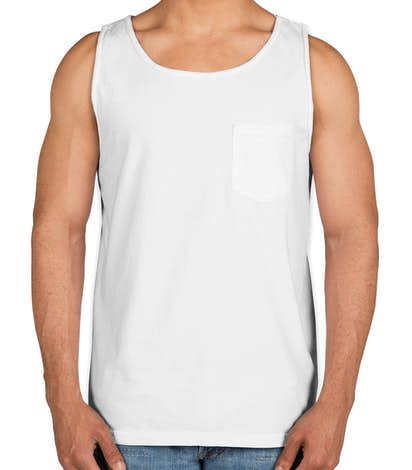 Comfort Colors 100% Cotton Pocket Tank - White