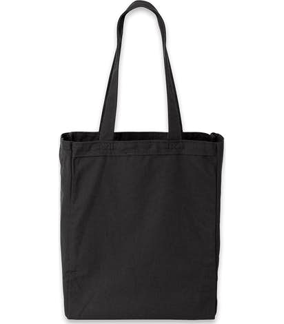 Medium Gusseted Midweight 100% Cotton Canvas Tote - Black