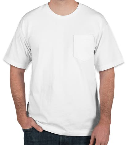 Bayside USA-Made 100% Cotton Pocket T-shirt - White