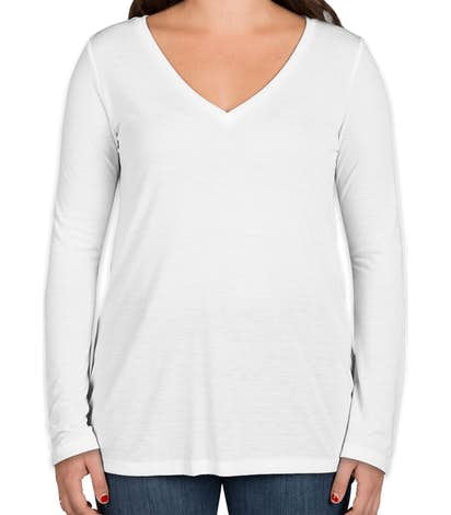 Bella + Canvas Women's Flowy Long Sleeve V-Neck T-shirt - White