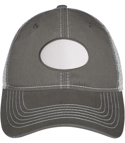Oval Printed Patch Hat - Trucker - Charcoal / White