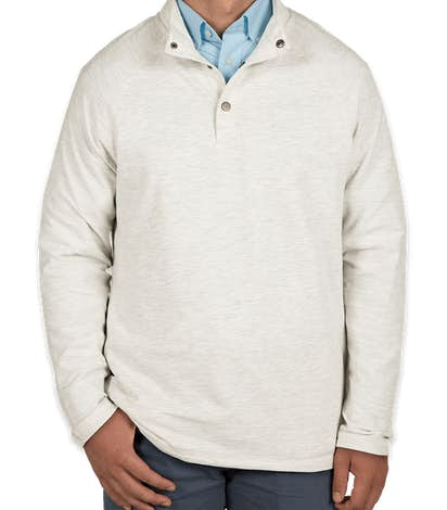 Charles River Snap Button Pullover With Pockets - Ivory Heather