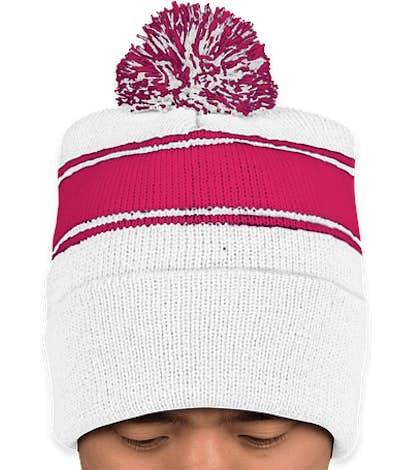 Sport-Tek Striped Pom Pom Beanie - White / Pink Raspberry